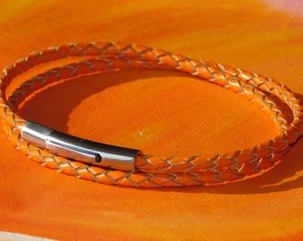 Mens / ladies 3mm Orange Braided leather & stainless steel double wrap bracelet by Lyme Bay Art.