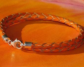 Mens / ladies 4mm Orange Braided leather & sterling silver double wrap bracelet by Lyme Bay Art.