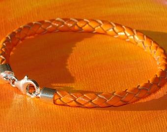 Mens / ladies 5mm Orange Braided leather & sterling silver bracelet by Lyme Bay Art.