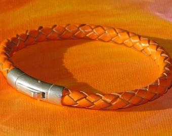 Mens / ladies Chunky 6mm Orange Braided leather & sterling silver bracelet by Lyme Bay Art.