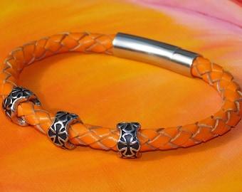 Mens / ladies 6mm Orange Braided leather & stainless steel bracelet by Lyme Bay Art.