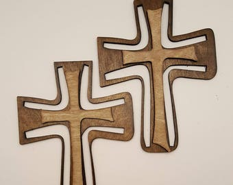 double layer laser cut wood cross