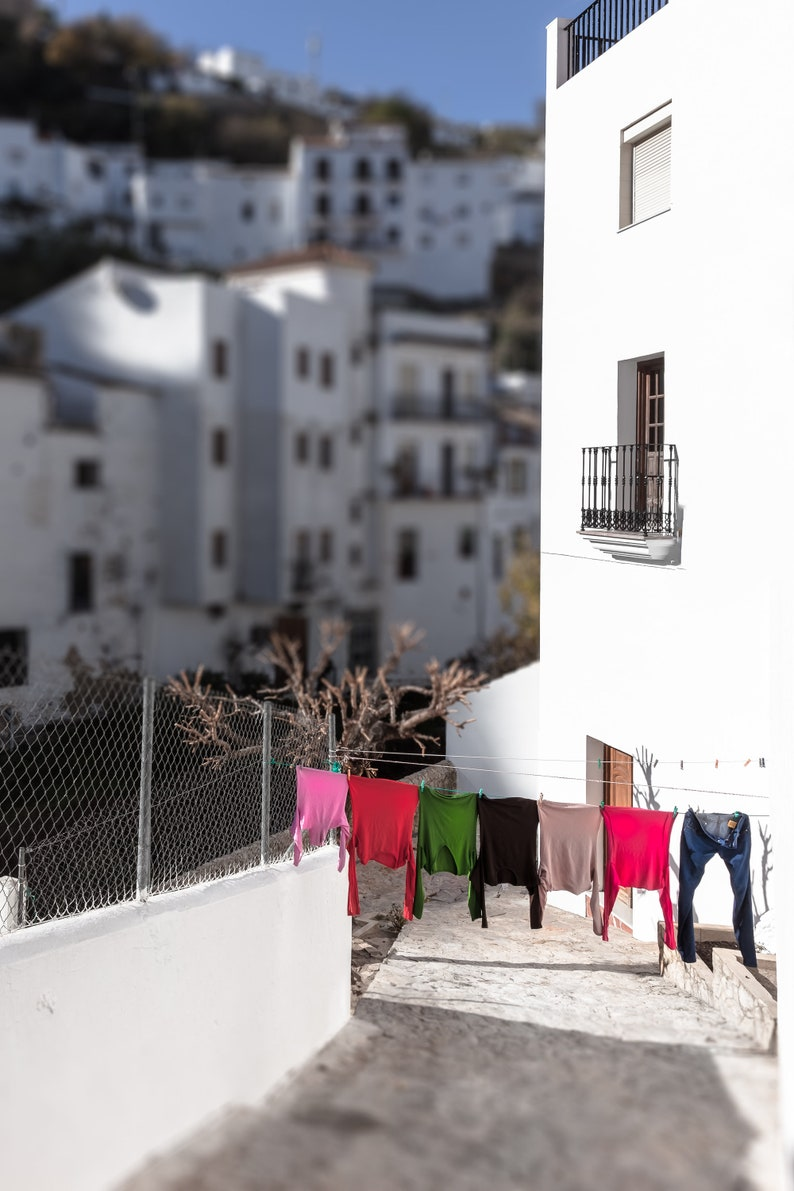 Pueblo Blancos Costa del Sol art Original Spain images DIGITAL DOWNLOAD  Colourful Clothes line in an Andalusian White Villages