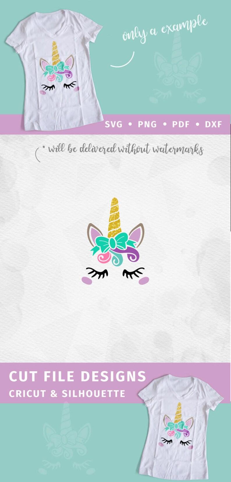 Unicorn SVG Bow Unicorn Face SVG Unicorn Head SVG Unicorn horn Birthday  Cricut Silhouette pdf png svg girls birthday cut file