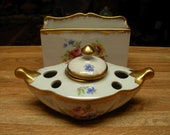 Antique Amoges Porcelain Inkwell Set Hand Painted Gold Trim Two Pieces Marked