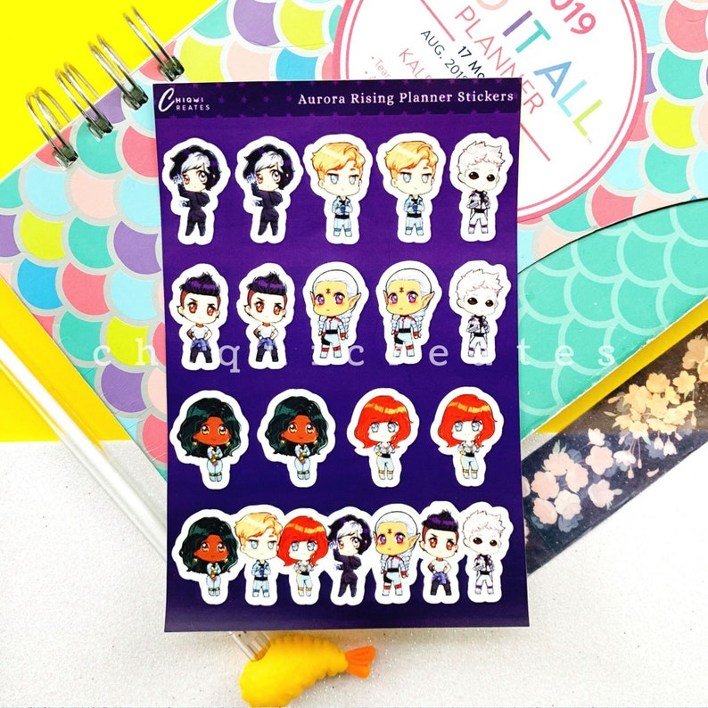Aurora Rising Sticker Sheet for Reading Journals / Planners image 0