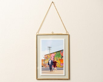 76920ef49e4 Brass   Glass Hanging Photo Frame 5x7