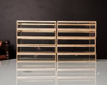 "Set of 10 - 5x7"" Brass & Glass Photo Print Box"