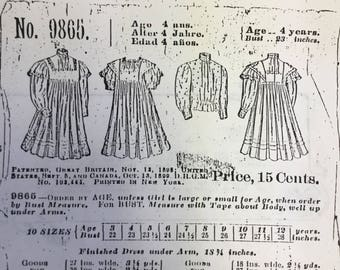 Vintage Early 20th Century Girls Dress Pattern (Uncut)
