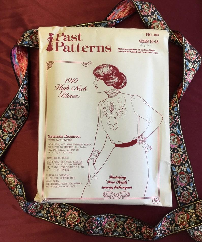 544d0a372619b1 Vintage 1910s High Neck Blouse Pattern Uncut