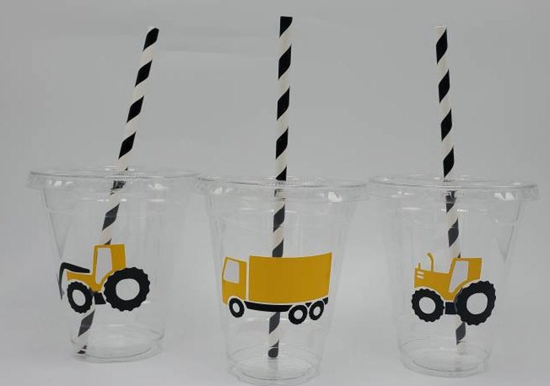 Construction party cups Construction Party Favors Things that Go Party Construction Baby Shower Tool Party Construction birthday party