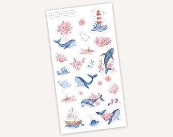 Ocean love    23 stickers   Whale   Animals   Summer   Flower   Pink   Blue   Nautical