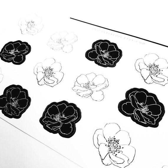 Fleurs Nb 15 Autocollants Dessin Noir Et Blanc Décoratif Botanique Bullet Journal Bujo Un Jour A La Fois