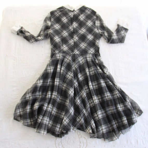 60s Vtg Plaid Dress Peter Pan Collar Medium - image 6