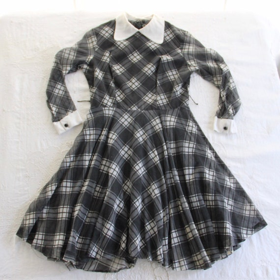 60s Vtg Plaid Dress Peter Pan Collar Medium - image 7