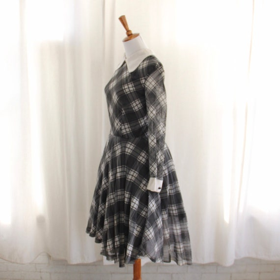60s Vtg Plaid Dress Peter Pan Collar Medium - image 2