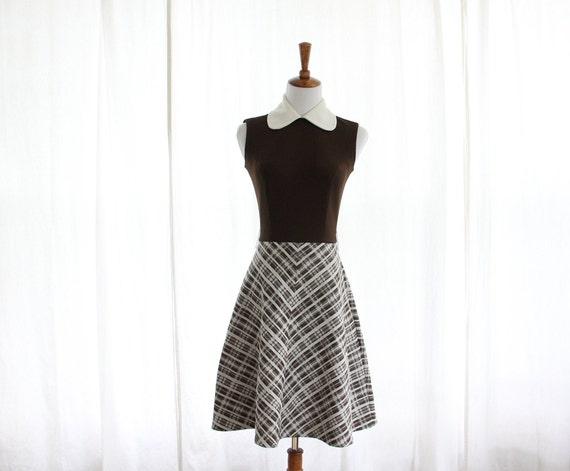 60s Vtg Mod Brown Peter Pan Collar Midi Dress Twig