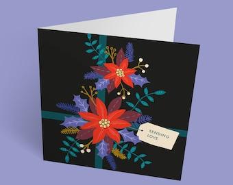 Christmas Present card | Sending Love | Christmas Card | Christmas Floral Pattern | Holiday card | Poinsettia