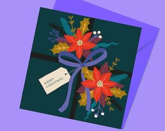 Christmas Present card | Merry Christmas | Christmas Card | Christmas Floral Pattern | Holiday card | Poinsettia