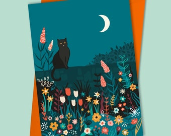 Midnight Garden Black cat birthday card | Any Occasion | Cat lover card