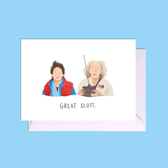 Great Scott it is Christmas Greeting Card Scott Card Marty Mcfly Card Funny Christmas Card Back to the Future Christmas Card