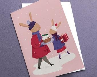 Christmas Rabbits Card | Carrying presents | Rabbit card | Cute Christmas Card | Card for grandchildren | Cute animal card