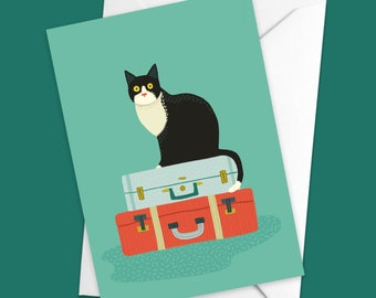 Cat on a suitcase Leaving card | Cat lover card | A6 greetings card | Blank Inside