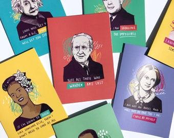 Choose any 4 greetings cards | Frida Kahlo | Einstein | Emmeline Pankhurst | Alan Turing | 25 designs