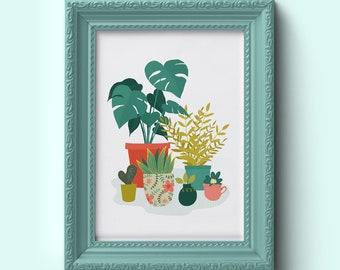 Pot plant print | Plant print | Cactii print | Garden lover gift | Botanical Wall Art | A4 Print