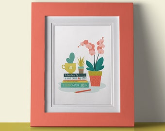 Pot plant with books print | Plant print | Cactii print | Book lover gift | Botanical Wall Art | A4 Print
