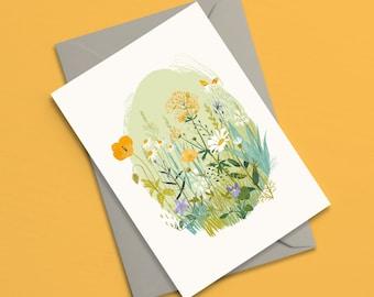 Wildflower Garden greetings card | Floral card | Birthday card | Mothers day card | Wedding card | Sympathy card