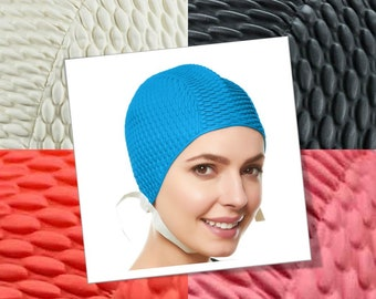 a98b852bb10 Beemo Swim Bathing Caps for Women or Girls Retro Style Latex Bubble Crepe Swimming  Hat with Chin Strap for Long or Short Hair