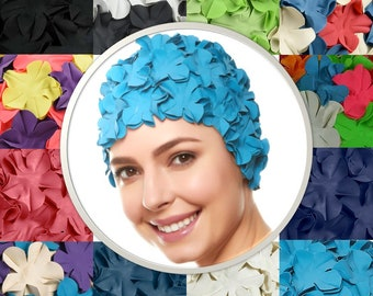 0a2149f3378 Beemo Floral Petal Swim Cap for Women – Retro Style Vintage Bathing Cap  Swimming Hat for Long and Short Hair