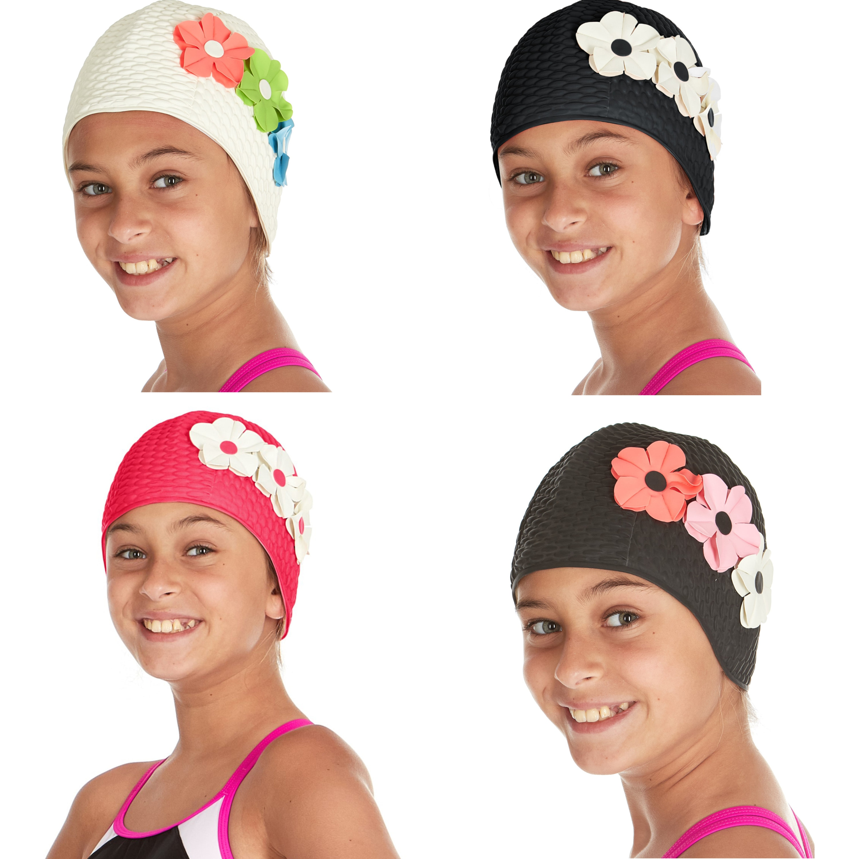 Tea Party Hats – Victorian to 1950s Beemo Kids Girls Swim Bathing Caps Age 7-14 Latex 3 Flowers For LongShort Hair $15.99 AT vintagedancer.com