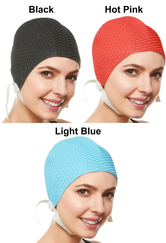 Beemo Swim Bathing Caps for Women or Girls Retro Style Latex Bubble Crepe Swimming Hat with Chin Strap for Long or Short Hair