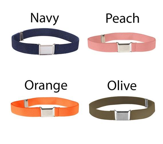Yellow//Orange//Rainbow 3 Pieces Boy Kids Silver Buckle Belt Adjustable Elastic Belts for Toddler