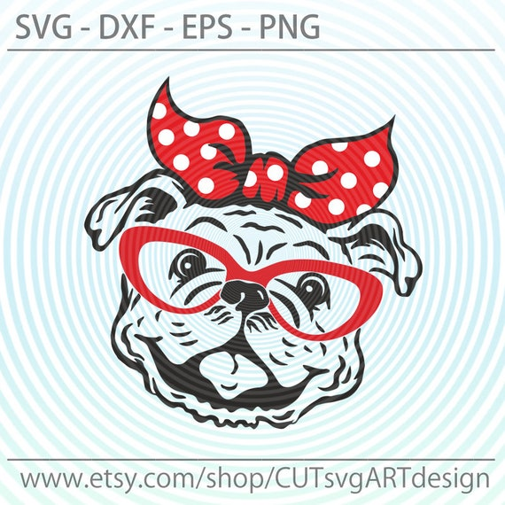 Cute Bulldog Face School Mascot with Bow Design Commercial Use SVG Cut File and Clipart Instant Download