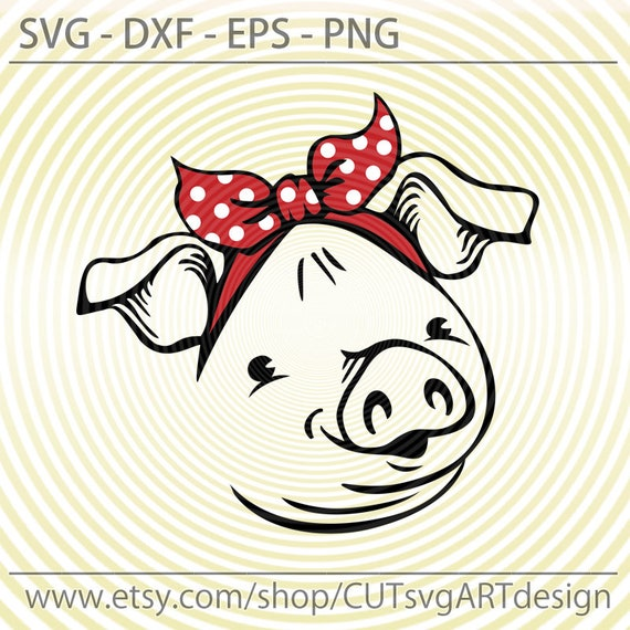 Cute Pig Face With Bandana Svg Funny Farm Animals Svg Piggy Etsy