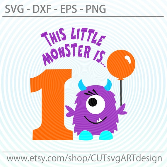 This Little Monster Is 1 Svg Birthday Party Svg Birthday Etsy