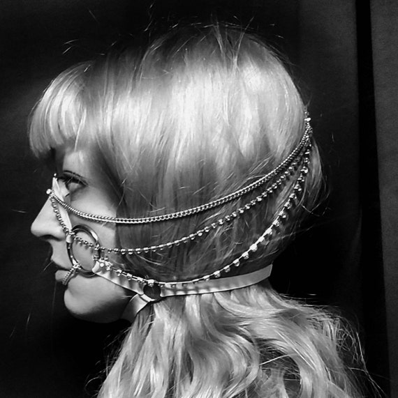 Latex Face Harness face jewelry in silver crystal