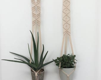 Macrame Plant Hangers, Set of 2, Hanging Planters, Indoor Planters, Indoor Hanging Planters, Modern Macrame, Macrame Planters, Plant Hangers