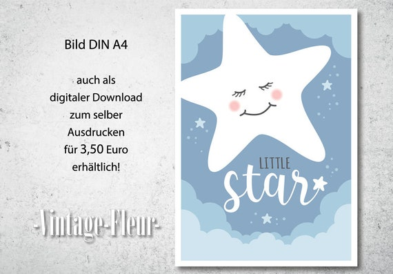 Kinderzimmer Wandbild A4 A3 Little Star Etsy
