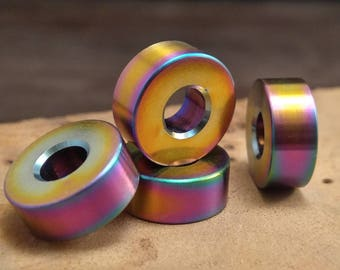 Titanium Lanyard Bead, Rainbow PVD, EDC Gear/Knife Accessories