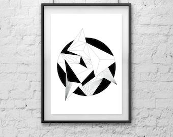 Geometric Circle Art,  Monochromatic,  Black and White Art, Wall Decor, Instant Download