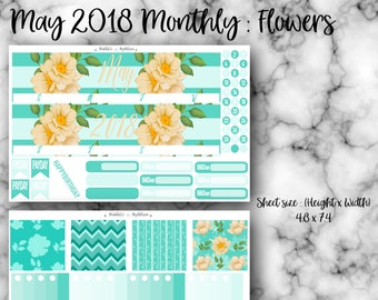 "May 2018 Monthly Planner Sticker Kit ""Flowers"": Made to fit Erin Condren Life Planner"