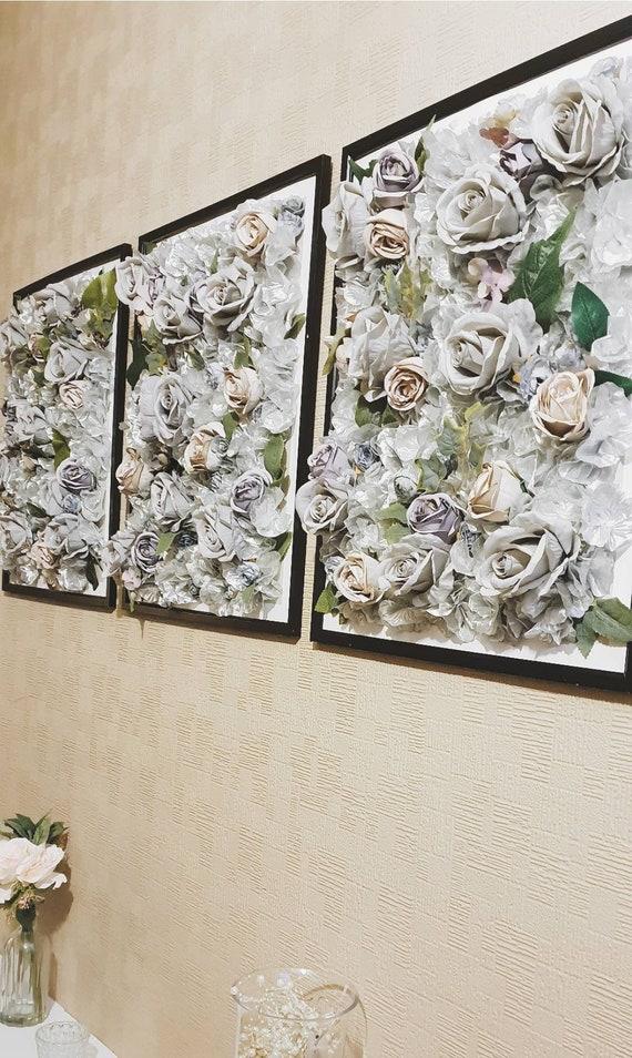 Flower Frame Artificial Flower Frame 3d Frame Grey Etsy