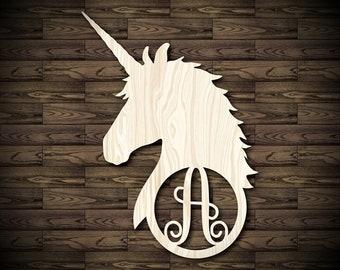 Wood letter frame etsy unicorn initial wood cutout custom cut wooden inital unicorn wooden cut out circle frame single letter door hanger laser cut initials spiritdancerdesigns Images