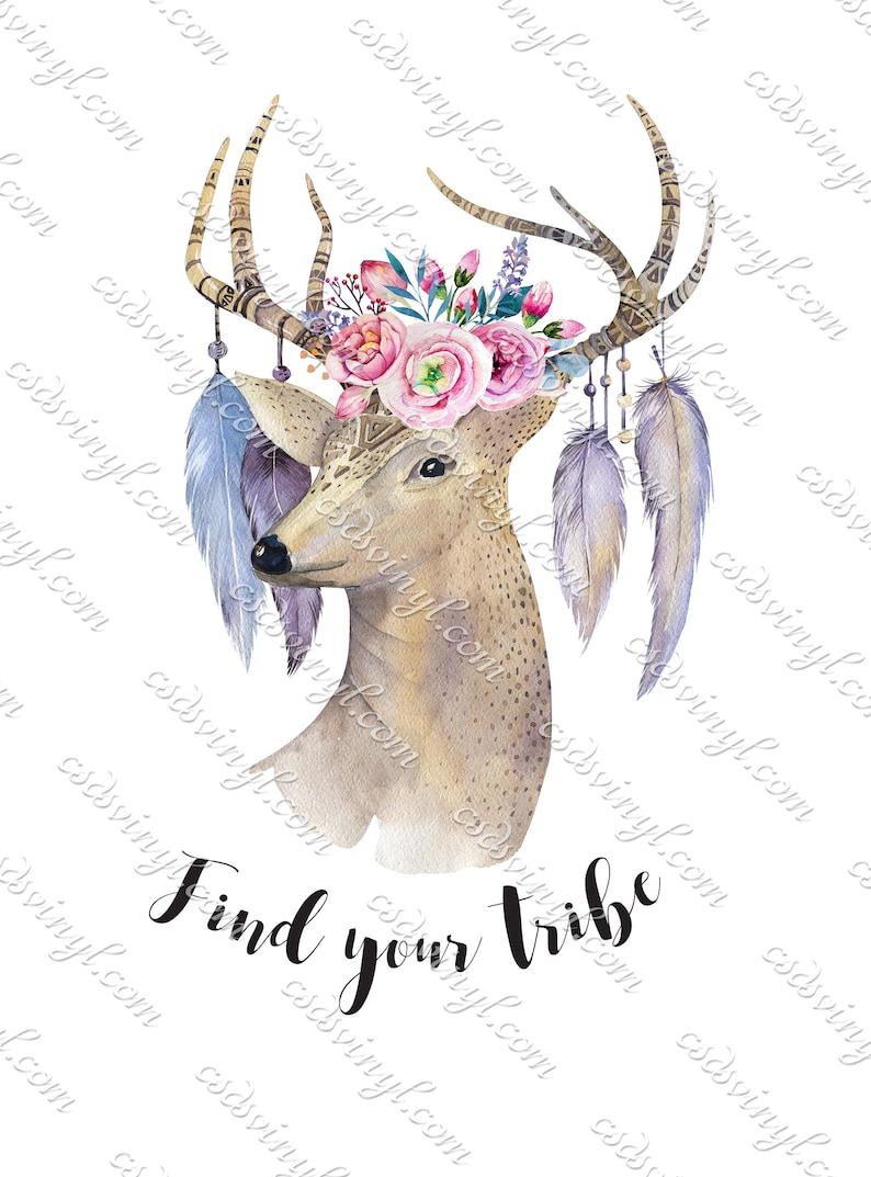 740ec2f9efae8 Find Your Tribe Sublimations - Feather Deer Head Transfer - Flowers And  Feathers Shirt Design - Boho Sublimation - Find Your Tribe - SUB0047