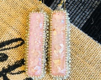 Slab Beaded Earrings/ Mauve Pink/ Speckle Dangle Earrings