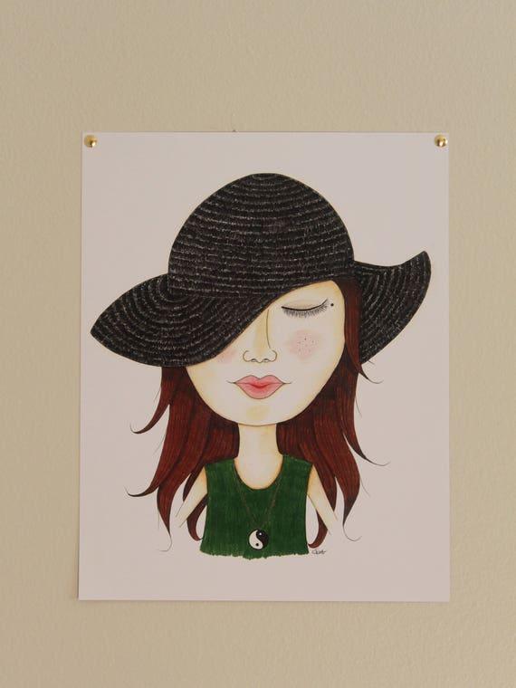 Zen hippie chick original art art decor wall decoration  f562b6249a7c